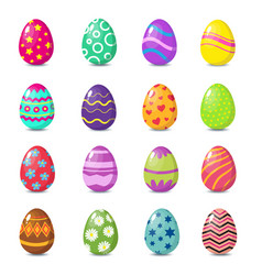 Cartoon colorful easter eggs with floral patterns vector