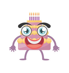 Cartoon sweet cake birthday vector