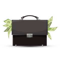 closed briefcase and sticking out dollar bills vector image vector image