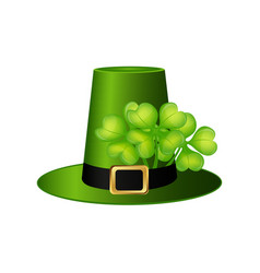 Cylinder hat leprechaun with clover leaf for st vector