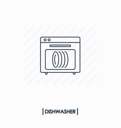 Dishwasher outline icon isolated vector