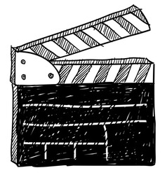 doodle movie clapperboard vector image vector image