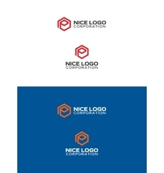 e hexagon logo vector image
