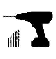 Electric cordless hand drill silhouette with bits vector image