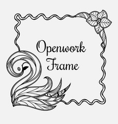 frame with swan vector image