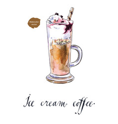 Fresh brewed coffee ice cream with berries vector