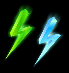 Green and blue lightning icon vector image