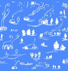 Hand drawn seamless pattern winter landscape with vector