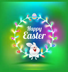 Happy easter greeting card with rabbit vector