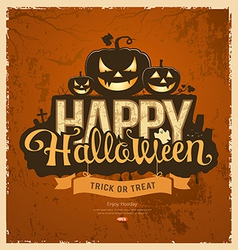 Happy halloween pumpkin message design vector image vector image