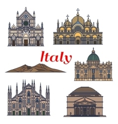 Historic buildings and sightseeings of italy vector