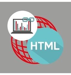 Laptop graphs globe html link web vector