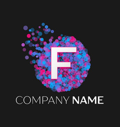 letter f logo with blue purple pink particles vector image