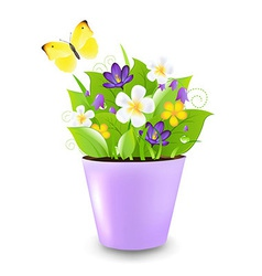 Lilac pot with flowers vector