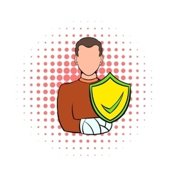 Man with broken arm with shield icon comics style vector image vector image