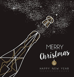 Merry christmas happy new year deco bottle outline vector