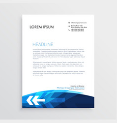modern blue letterhead design with arrow shape vector image