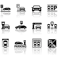 Parking icons with reflection vector
