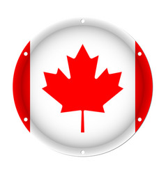 Round metallic flag of canada with screw holes vector