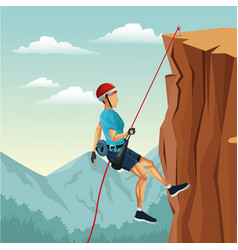 Scene landscape man mountain descent with vector