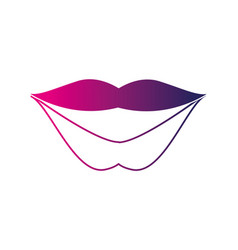 silhouette fashion mouth with lipstick makeup in vector image