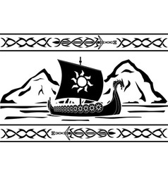 stencil of viking ship vector image vector image