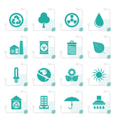 Stylized ecology and nature icons vector