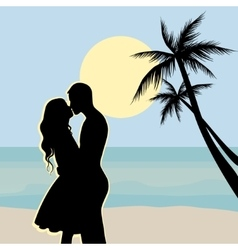 Sunset silhouettes of a boy and girl sitting vector image