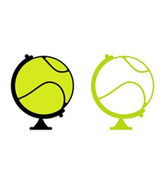 Tennis ball globe world game sports accessory as vector