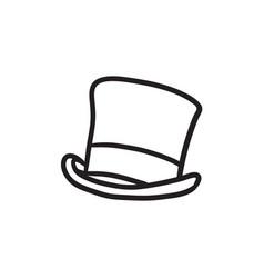 Top hat sketch icon vector