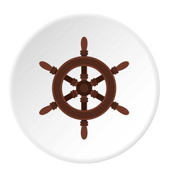 Wooden ship wheel icon circle vector