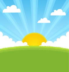 Summer landscape with sun and blue sky vector