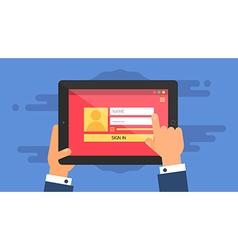 Web Template of Tablet Login Form vector image