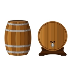 Wooden cask with rum cognac brandy scotch in vector