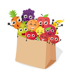 Cartoon fruits characters with shopping bag vector