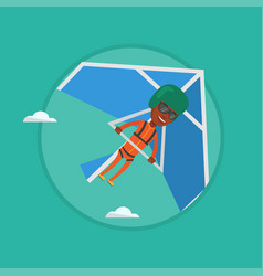 Man flying on hang-glider vector