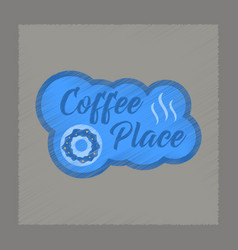 flat shading style icon coffee place logo vector image