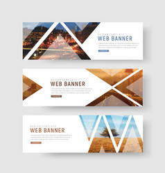 Set of horizontal white banners with triangular vector