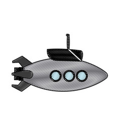 Submarine with periscope bathyscaphe cartoon vector