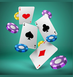 Falling playing cards and poker chips gambling vector