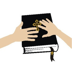 Marital oath on the Holy Bible vector image