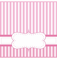 Pink card invitation with white stripes vector
