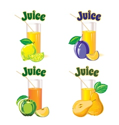 Glasses for juice from lemon apple pear plum vector