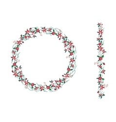 Round christmas wreath with poinsettia isolated on vector