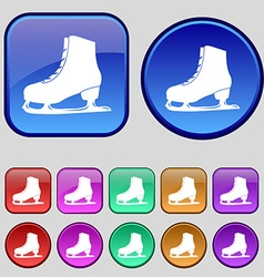 Ice skate icon sign a set of twelve vintage vector
