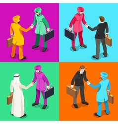 Handshake 05 isometric people vector