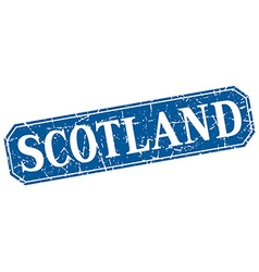 Scotland blue square grunge retro style sign vector