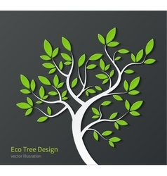 Stylized tree with branches and green leaves vector