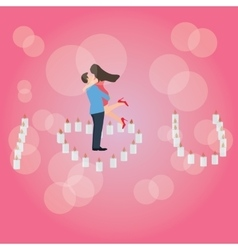 I love you heart shaped candle couple hug romantic vector