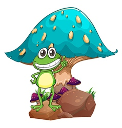 A frog standing above the rock below the giant vector